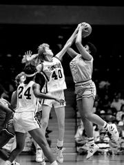 Vanderbilt center Wendy Scholtens (40) gets a hand on the shot of Tennessee TechÕs Renay Adams (55) during the 13th-ranked Lady Commodores 72-59 victory at Memorial Gym Jan. 2, 1988.