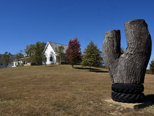 """The artwork of Oscar Tuazon called """"Eli"""" occupies a field at Coal Creek Farm in Cumberland County. The property is owned by George Lindemann of Miami, Fla. whose passion is collecting and enjoying monumental artwork."""