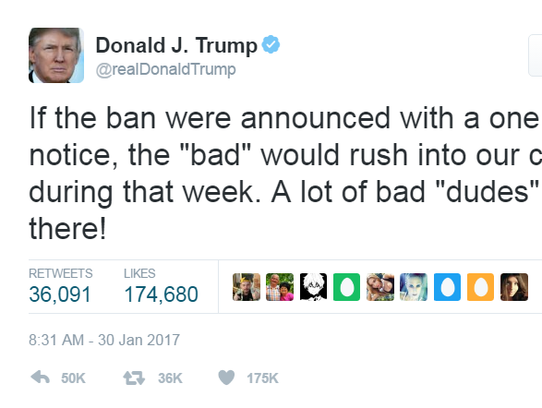 Donald Trump took to Twitter to defend his travel ban.