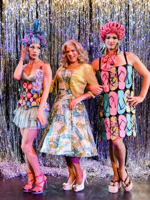 """From left, Bo Mellinger, Matty McCaslin and Troy Wageman find """"Priscilla, Queen of the Desert"""" a drag."""