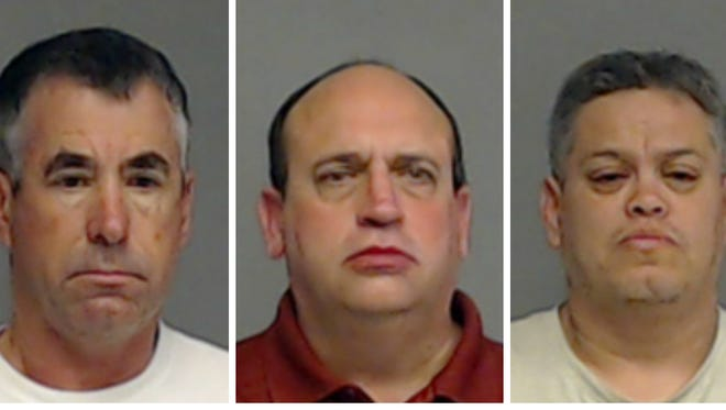 Three men were arrested on charges of soliciting prostitution. From left: Michael E. Hettick, 56, of San Angelo; Leonard Pressley, 50, of Lubbock; and Jeffrey Cuellar, 49, of San Angelo.