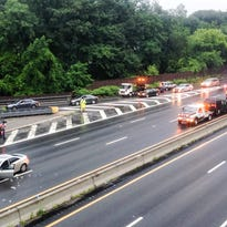 Aftermath of a June 30, 2015, fatal accident on the northbound Sprain Brook Parkway at Central Park Avenue in Yonkers, photographed July 1, 2015. The accident shut the northbound parkway. Traffic is being diverted off at Central Park Avenue.