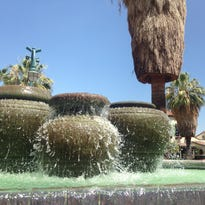 The fountain at Palm Springs International Airport has been turned on again.