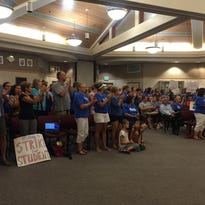 "Teachers from DSUSD chanted ""strike for kids"" at Tuesday's board meeting."