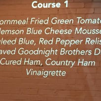 Information about each dish was projected onto a wall at the recent quarter-final match of the Competition Dining Series in Greenville.