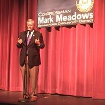U.S. Rep. Mark Meadows speaks at a town hall meeting in Flat Rock in August.