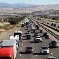 Westbound Interstate 10 filled with traffic Sunday as people headed home following Thanksgiving weekend.