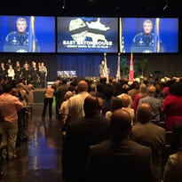 Vice President Joe Biden and Attorney General Loretta Lynch attended a community memorial service in Baton Rouge on Thursday for the three law enforcement officers killed July 17 by a lone gunman.