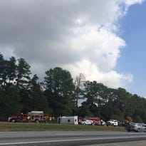 A church bus overturned on Interstate 85, shown in this reader-submitted photo by Julee Graham.