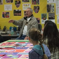 World War II veteran visits DC Everest Middle School to make valentines with students