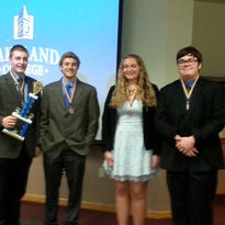 Plymouth High School students, from left, Drew Schweiger, Michael Bolland, Tessa Woelfel and Jaryd Larson took third at the recent Lakeland College Forensic Accounting Competition.