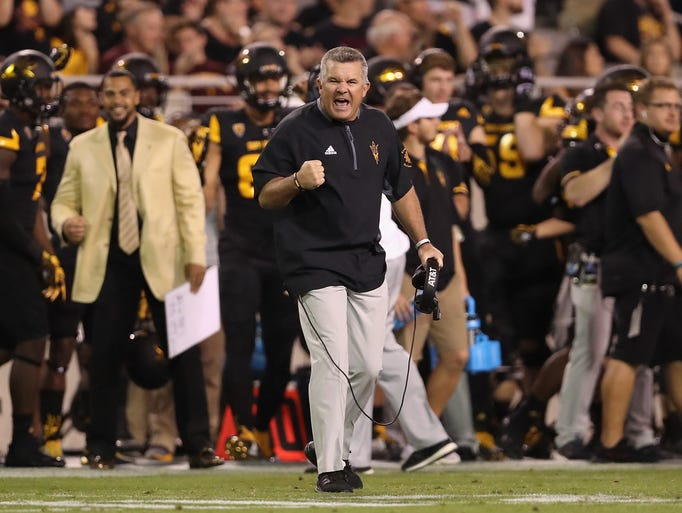 ASU head coach Todd Graham celebrates after Washington