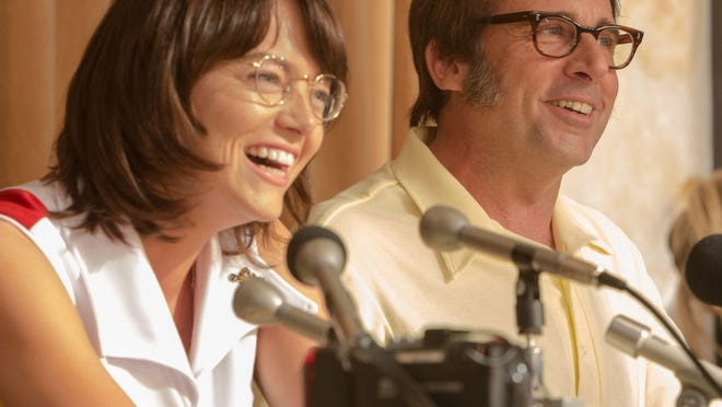 """Emma Stone, left, stars as Billie Jean King and Steve Carell is Bobby Riggs in the ERA-era """"Battle of the Sexes."""""""