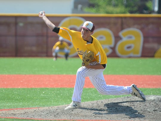 Salisbury University's Connor Reeves on the mound against Penn State Harrisburg during the CAC Conference Championships on Friday, May 11, 2018 at Salisbury University.