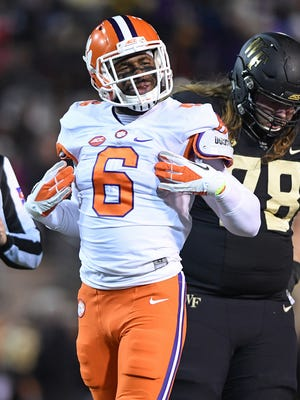 Clemson linebacker Dorian O'Daniel (6) plays against Wake Forest during the 1st quarter at Wake Forest's BB&T field on Saturday, November 19, 2016.