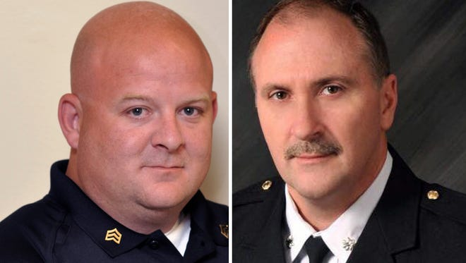 Southport Police Department's Lt. Aaron Allan (left) and Indianapolis Metropolitan Police Department Deputy Chief Jim Waters died Thursday, July 27, 2017. Allan was fatally shot while responding to a car crash. Waters died from injuries sustained in a crash on Sunday.