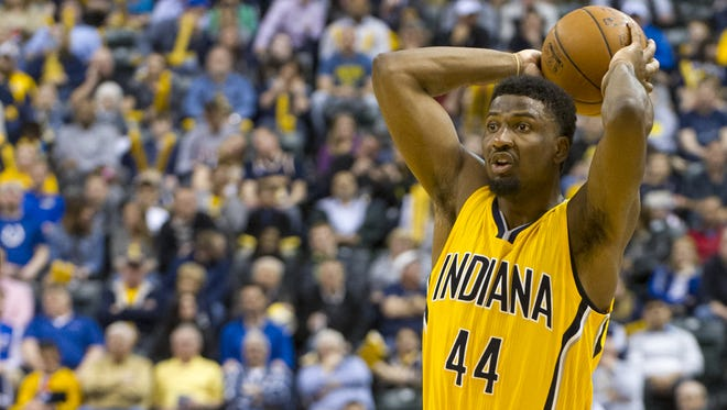 Indiana Pacers forward Solomon Hill (44) looks for help from a teammate during the second half of an NBA basketball game, Friday, April 3, 2015, in Indianapolis. The Pacers won 93-74.