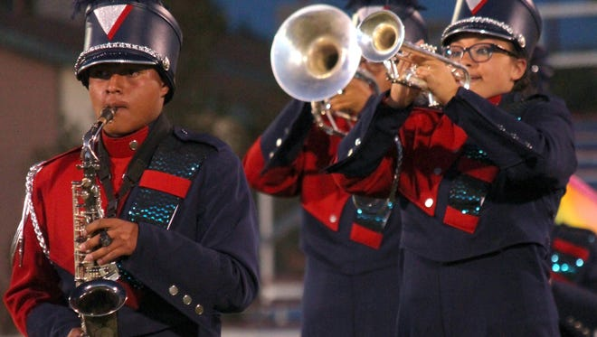 The Deming High School Wildcat Marching band hosted the Southwest New Mexico Music Directors' Marching Festival Wednesday, Oct. 5, 2016 at DHS Memorial Stadium The seven bands that performed for the audience were: Cloudcroft High School, Morenci High School of Morenci, AZ, Bayard Cobre High School, Silver High School of Silver City, host Deming, Mayfield High School of Las Cruces and Centennial High School, also of Las Cruces. The festival served as a music and marching clinic to help the bands prepare for actual competition later this month and in November. The Wildcat marchers will be competing at the Zia Festival, Oct. 29, in Albuquerque and at the Tournament of Bands during the first week of November at Las Cruces.