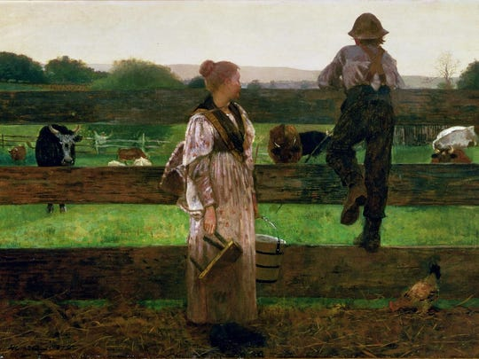 """Recently, Winslow Homer's """"Milking Time"""" (1875) was removed from the Delaware Art Museum's wall and collections database. Museum officials won't confirm that it will be sold."""