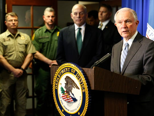 U.S. Attorney General Jeff Sessions, right, and Department of Homeland Security Secretary John Kelly toured the ports of entry in El Paso in April.