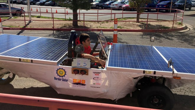 Harmony Science Academy students created this solar-powered car this summer to compete in an international competition.