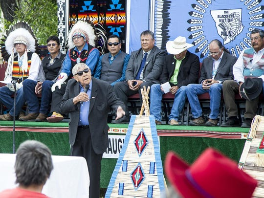 Chief Earl Old Person speaks during the swearing in ceremony for newly elected tribal council members on July 14. Members of the previous council voted 8 to 1 to approve the draft of a new constitution for the Blackfeet people.