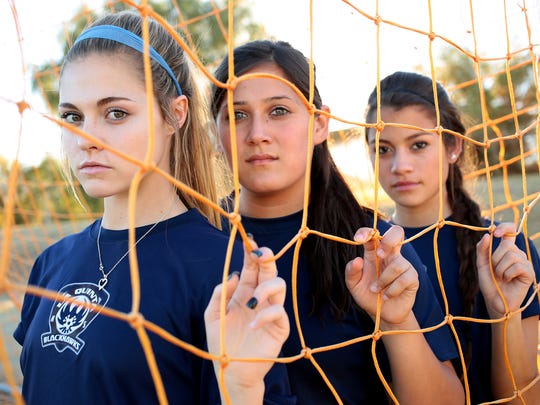 La Quinta junior Kailee Prescott, senior Arianna Rodriguez, and senior Aileen Galicia return to the Blackhawks girls' varsity soccer team this year determined to return to CIF playoffs after the team was disqualified before the CIF-SS semifinals last season.