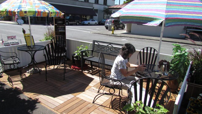Friends of Old Town Stayton's project, the Parklet across from Moxieberry, is among the group's numerous projects to heighten downtown's appeal.