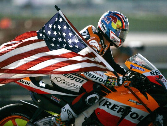 Nicky Hayden celebrates after winning the 2006 Moto GP championship.