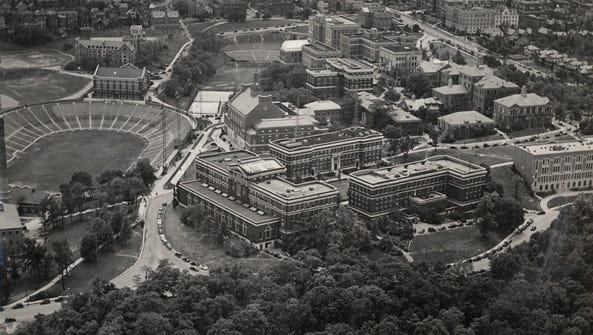 An aerial view of the University of Cincinnati campus,