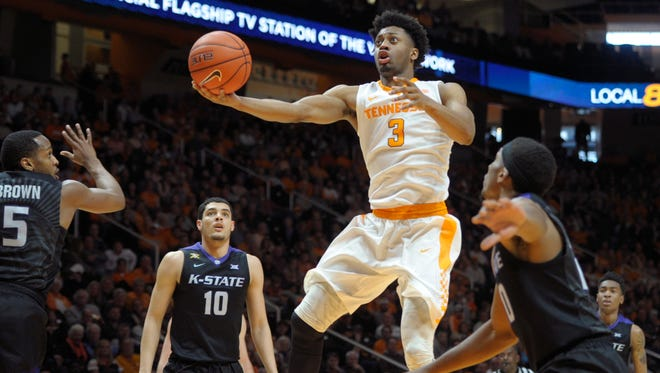 Tennessee's Robert Hubbs III goes for a layup during a game against Kansas State at Thompson-Boling Arena on Saturday.