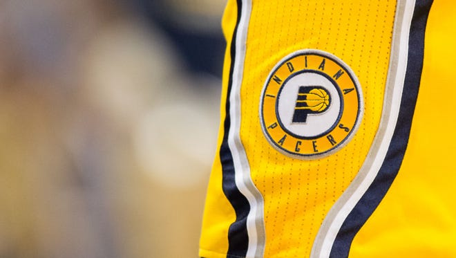 Mar 27, 2016; Indianapolis, IN, USA; A view of the Indiana Pacers logo on the shorts of guard George Hill (3) in the game against the Houston Rockets at Bankers Life Fieldhouse. The Indiana Pacers beat the Houston Rockets by the score of 104-101. Mandatory Credit: Trevor Ruszkowski-USA TODAY Sports
