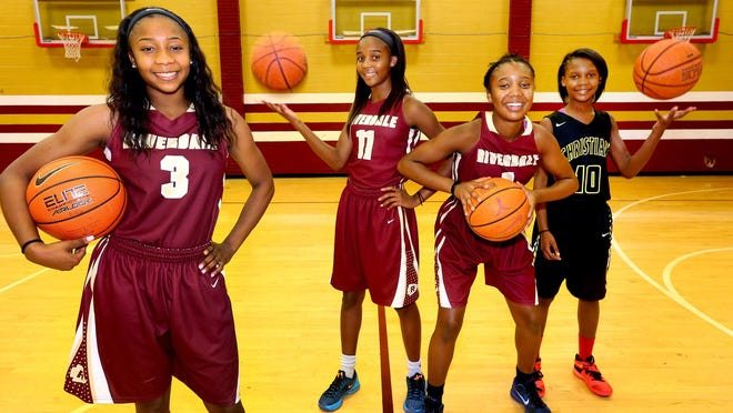 The Hayes sisters, left to right, Anastasia Hayes, a senior at Riverdale, Aislynn Hayes, a sophomore at Riverdale, Alasia Hayes, a freshman at Riverdale, and Acasia Hayes, a 7th grader at Christiana Middle School, on Aug. 11, 2016.