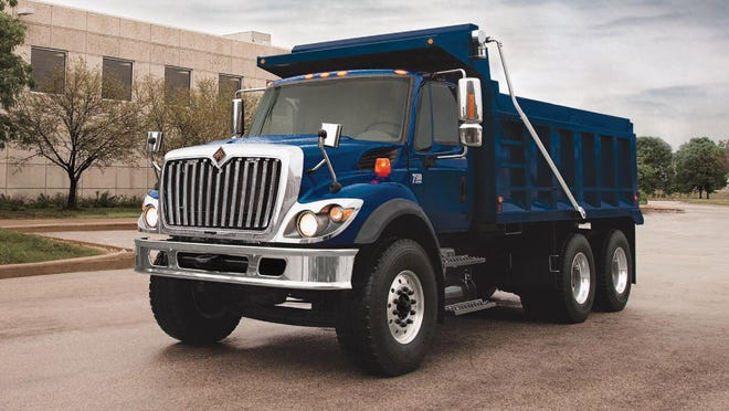 This is an example of the International 7600 Set Forward Axle 6x4, 10-wheel dump truck the Town of Hyde Park plans to purchase from Arkel Motors in Newburgh. However, the truck the town plans to buy will be orange and include front and wing plows.