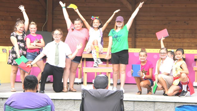 """The predominately middle school Quincy Drama Society cast of """"Junie B. Jones Jr. the Musical"""" brought to life the challenges of being in first grade to the Quincy Park over the weekend."""