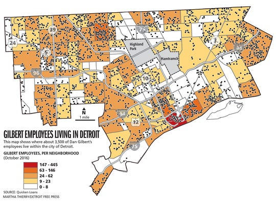 Map shows where Quicken Loans employees live in Detroit.
