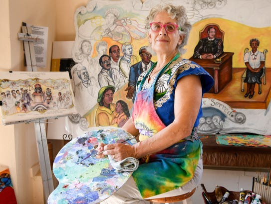 Artist Bernice Davidson has created a mural that depicts