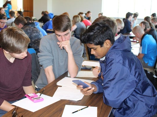 Freshmen take part in the group competition at the University of Wisconsin-Oshkosh Math Competition in April.