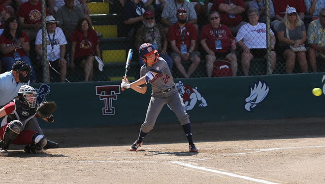 Auburn first baseman Kendall Veach hits two solo home runs in a 3-0 season-opening victory over No. 1 Oklahoma.