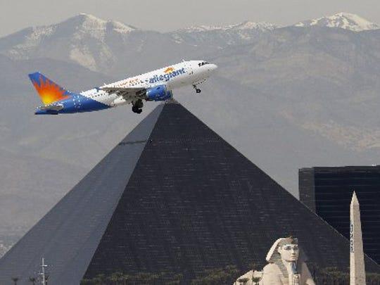 Allegiant Air Airbus A319 departs from Las Vegas McCarran International Airport.