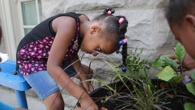 Student Ramya Austin puts plants in a planter at Rothenberg Academy in Over-the-Rhine.