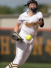 Rachel Everett pitches for Hartland in the first game