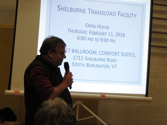 David Wulfson, president of Vermont Rail Systems, speaks to a large crowd at Shelburne Community School on Feb. 10, 2016.