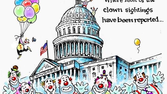 Clowns cartoon by Dave Granlund