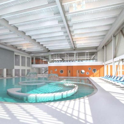 A rendering of the planned pool area as part of the