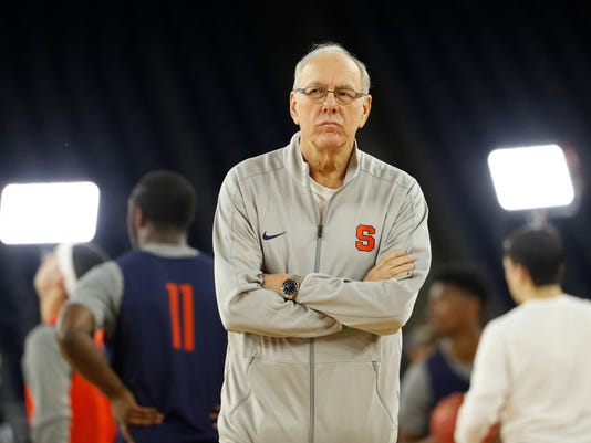Syracuse head coach Jim Boeheim watches during a practice session for the NCAA Final Four college basketball tournament Friday, April 1, 2016, in Houston. (AP Photo/David J. Phillip)