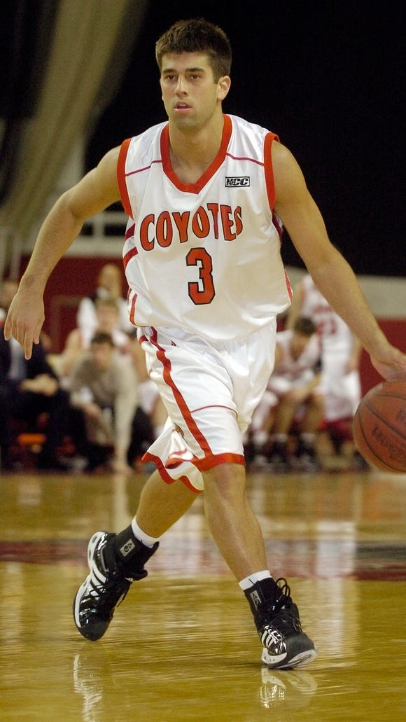 Mitch Begeman (pictured with the Coyotes in 2007) has risen the coaching ranks since graduating from USD in 2009. In April 2016, Begeman was hired as the boys basketball coach at Roosevelt.