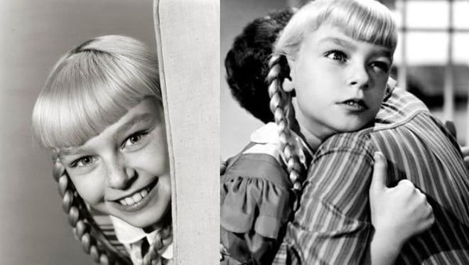 Two sides of Patty McCormack's Rhoda Penmark- one moment a sweet, adorable pig-tailed blonde, next scheming and evil.