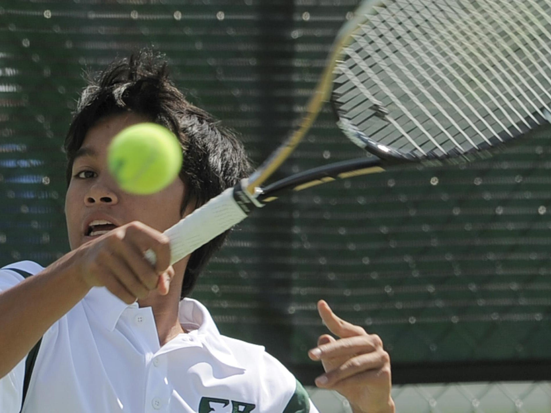 Fossil Ridge High School's Gabe Pagat, pictured in a file photo, and Tristan Faust won a first-round state tennis match Thursday.