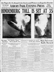 Next day's coverage of the Hindenburg disaster as reported on the front page of the Asbury Park Press on May 7, 1937.